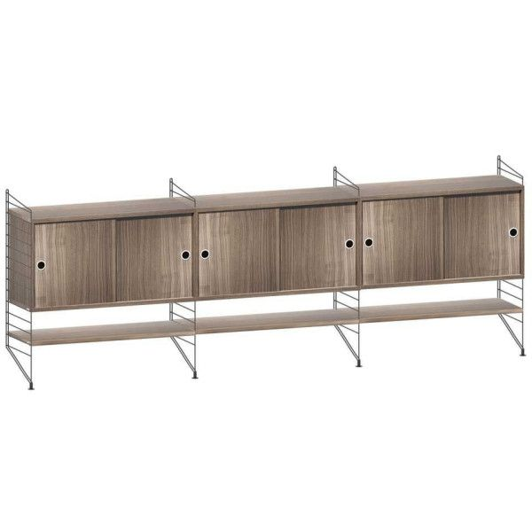 String Dressoir large, zwart/walnoot