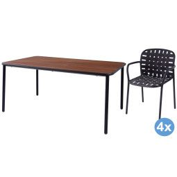 Emu Yard Ash tuinset 160x98 tafel + 4 stoelen (armchair)