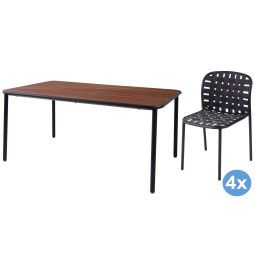 Emu Yard Ash tuinset 160x98 tafel + 4 stoelen (chair)