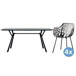 Fast Radice Quadra tuinset 150x90 tafel + 4 stoelen (armchair)