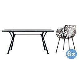 Fast Radice Quadra tuinset 200x90 tafel + 6 stoelen (armchair)