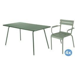 Fermob Luxembourg tuinset 143x80 tafel + 4 stoelen (armchair)