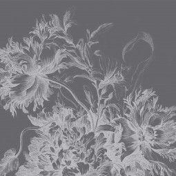 KEK Amsterdam Engraved Flowers zwart-wit behang