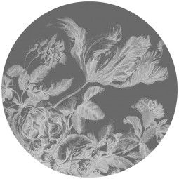 KEK Amsterdam Engraved Flowers zwart-wit behangcirkel 142.5