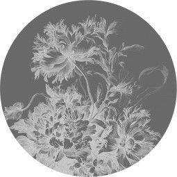 KEK Amsterdam Engraved Flowers zwart-wit behangcirkel 190