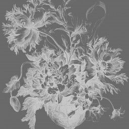 KEK Amsterdam Engraved Flowers zwart-wit behangpaneel