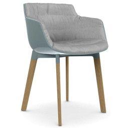 MDF Italia Flow Slim Color Cross Oak stoel gestoffeerd