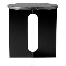 Menu Androgyne bijzettafel zwart met marmeren tafelblad