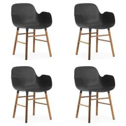 Normann Copenhagen Set aanbieding Form Walnut Armchair stoel (4x)