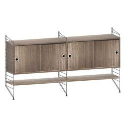 String Dressoir medium, zwart/walnoot