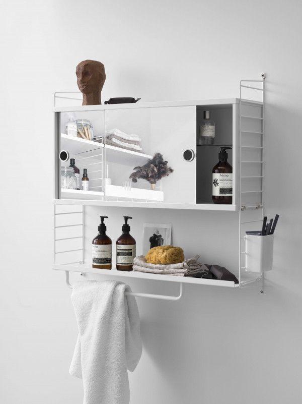String Kast badkamer medium met roede, grijs